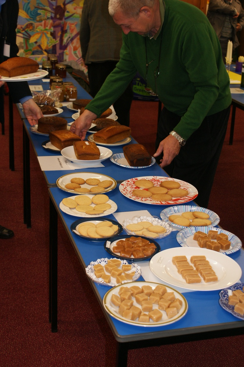 A selection of cakes, biscuits and fudge for judging